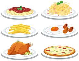 Conjunto de refeições diferentes vetor