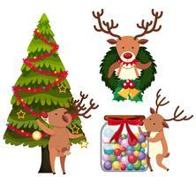 Rena, decorando, árvore natal vetor