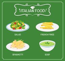 Comida italiana no menu com fundo verde vetor