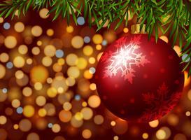 Bola vermelha de Natal com padrão de floco de neve vetor