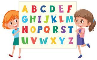 Meninas, segurando, alfabeto inglês vetor