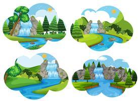 Conjunto de cenas da natureza da cachoeira vetor