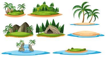 Ilhas diferentes e cenas da floresta vetor