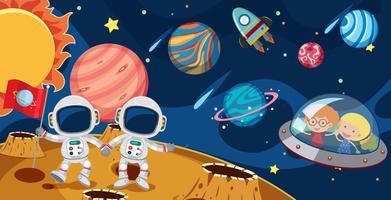 Astronautas e crianças em UFO vetor