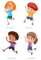 Um conjunto de crianças felizes