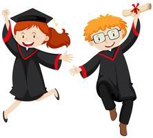 Dois estudantes graduados em vestidos de formatura