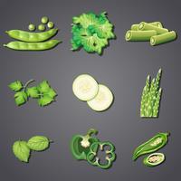 Um conjunto de vegetais verdes frescos