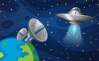 Cena do espaço com UFO vetor