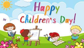 Feliz dia das crianças de fundo vetor
