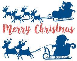 Cartão de trenó de Papai Noel feliz Natal vetor