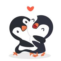 Pinguins fofos feliz casal abraço vetor