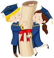Homem mulher, em, azul, vestidos graduação
