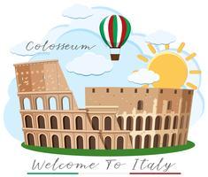 Um, colosseum, roma, itália, marco vetor