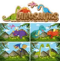 Diferentes tipos de dinossauros na selva
