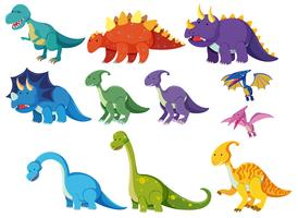 Conjunto de dinossauros dos desenhos animados vetor