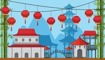 Cena de fundo com edifícios e lâmpadas na cidade de china vetor