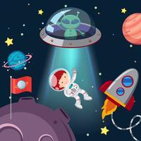 Astronauta e alienígena na galáxia vetor