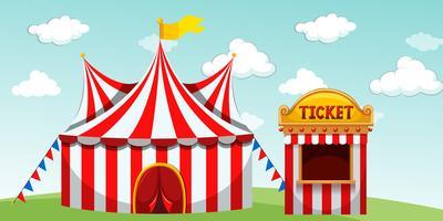 Tenda de circo e bilheteria vetor