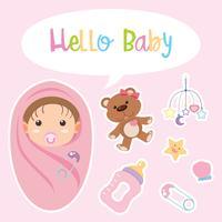 Design de cartaz com bebê embrulhado em rosa vetor
