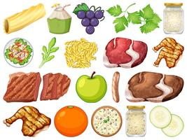 Conjunto de muitos alimentos vetor
