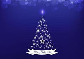 Fundo azul do vetor da árvore de Natal de Bokeh