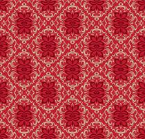 Modelo de design de padrão decorativo sem costura vermelho luxo. vetor