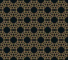 Teste padrão sem emenda de cruzar linhas finas do ouro no fundo preto. Ornamento sem costura abstrato. vetor