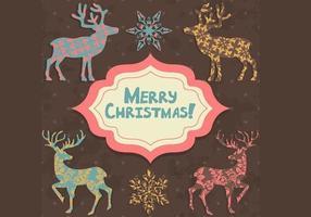 Pacote de vetores de cartão de Natal estampado