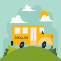 Ônibus escolar com nuvens de paisagem e sol vetor