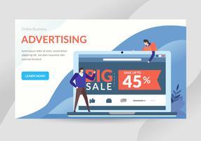 Ilustração de personagem de conceito de publicidade on-line vetor