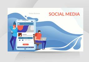 Ilustração em vetor on-line de mídia social móvel
