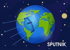 Sputnik É o primeiro satélite em órbita da Terra. O primeiro satélite a levar um cachorro ao espaço. vetor