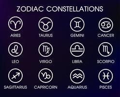 As 12 constelações de símbolos zodiacais. vetor