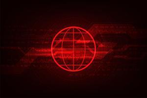 Tecnologia da informação digital no fundo vermelho.