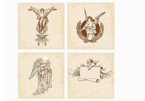 Mão desenhada anjo vector pack