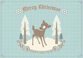 Vetor de cartão de Natal retrô veado
