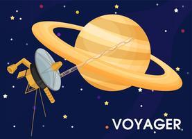 Viajante. A espaçonave foi enviada para explorar os anéis de Saturno. vetor