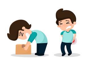 Os funcionários têm acidentes de trabalho. Braço quebrado e primeiros socorros. vetor