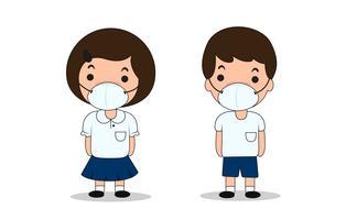 Estudantes em Bangkok que têm que usar máscaras contra poeira para evitar poeira vetor
