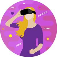 Garota em óculos de realidade virtual vetor