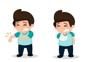 Os funcionários têm acidentes de trabalho. Levantamento pesado faz dores nas costas. vetor