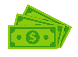 As cédulas do dólar isolam-se no fundo branco.