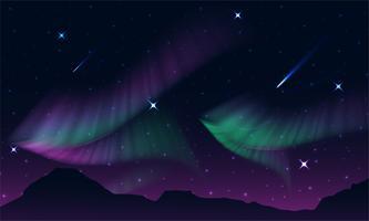 aurora, luzes polares, luzes do norte ou do sul é uma luz natural no céu da Terra, vetor