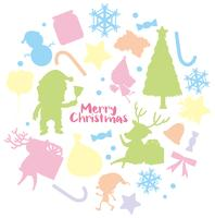 Modelo de cartão de Natal com fundo de silhueta