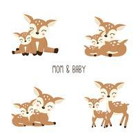 Família de cervos bonito dos desenhos animados. Mãe e bebê.