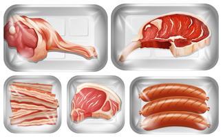 Conjunto de warpping de carne na bandeja vetor