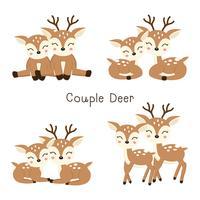 Conjunto de casal fofo querido em estilo cartoon. vetor