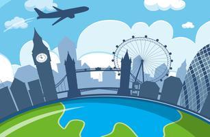 linha da cidade de Londres com avião vetor