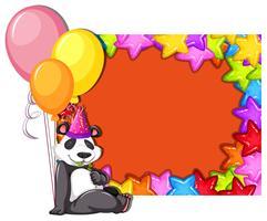 Panda no modelo de cartão de aniversário vetor