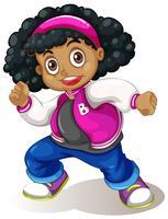 Um, menina africana, personagem vetor